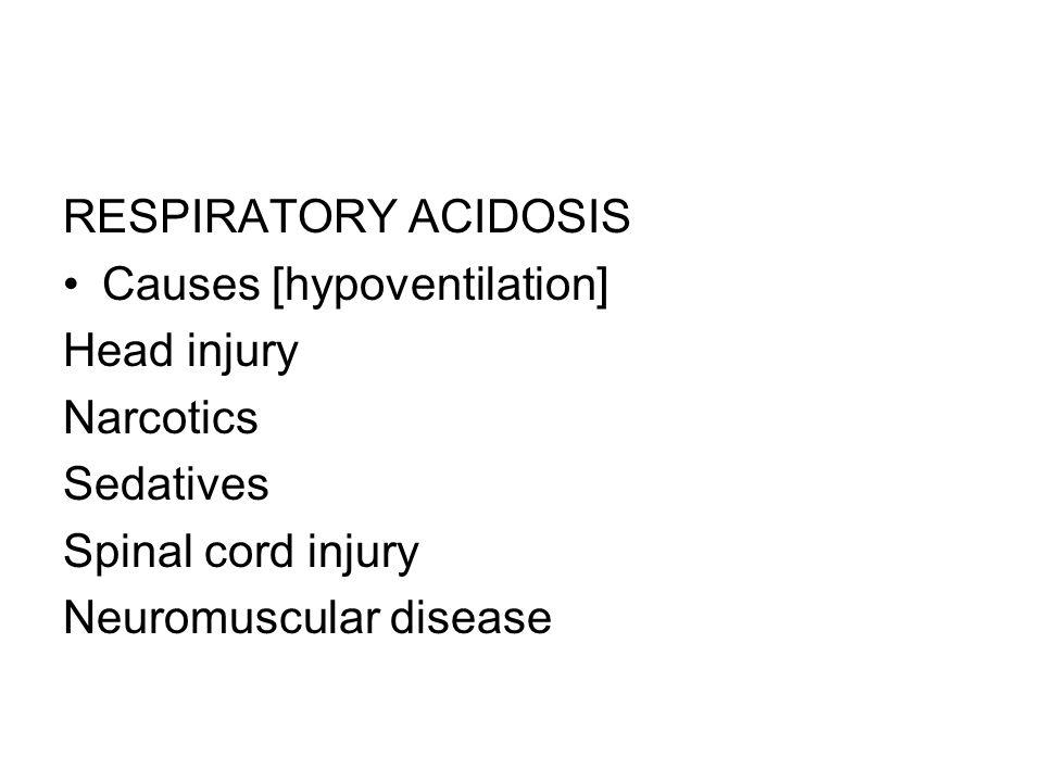 RESPIRATORY ACIDOSIS Causes [hypoventilation] Head injury. Narcotics. Sedatives. Spinal cord injury.